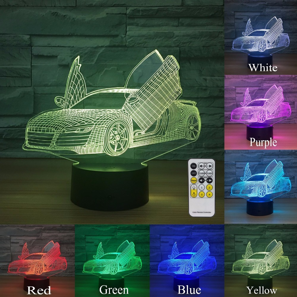 Remote Touch Control Scissors Door Supercar 3D Lamp 7 Color Led Night Lamp For Kids Touch Led Usb Table Lampara Lampe Nightlight