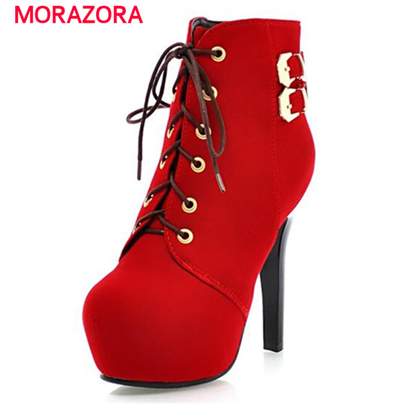 MORAZORA High heels thin heel boots women shoes platform flock ankle boots autumn lace-up fashion sexy boots buckle party new women boots sexy high heels platform rivet ankle boots for women thin heel lace up night high heel boots dancing shoes