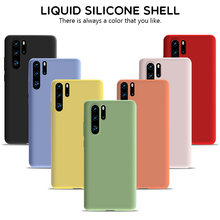USLION Liquid Silicone Phone Case For Huawei P30 P20 P10 Plus Mate 20 10 9 Pro Honor 10 9 8 Lite V20 V10 Simple Solid Back Cover(China)