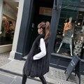 Faux Pele De Raposa Mulheres Colete de Médio Longo Luxo Falso Coletes De Pele 2016 inverno New Fashion Feminino Peludo AO015 Mex Vest Furs Gilet Branco Rosa