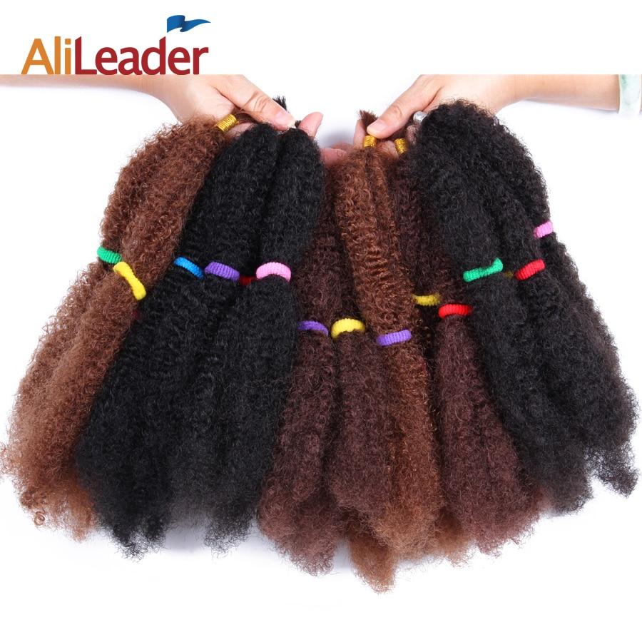 Alileader Afro Bulk Hair 5Pcs/Lot Synthetic Hair Extension For Braids Heat Resistent Japanese Fiber 18 Kinky Curly Hair Bundles