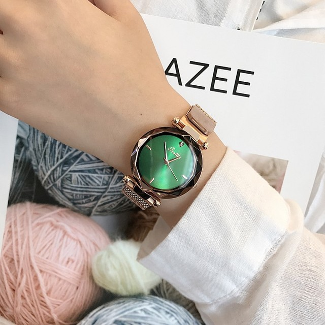 2018 Luxury Brand vigilanza a Cristallo della signora Magnete fibbia Donne Vestono la Vigilanza del Quarzo di Modo Orologio Femminile In Acciaio Inox Orologi Da Polso