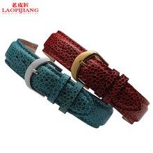 Correa de Piel de Lagarto Laopijiang sustituto relojes para hombres y mujeres con 18.20mm