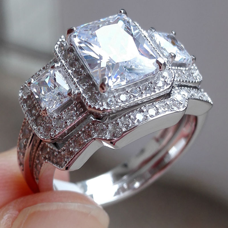 1.8 Ct AAA CZ Princess Cut Solid 925 Sterling Silver 2 Pcs Wedding Ring Set