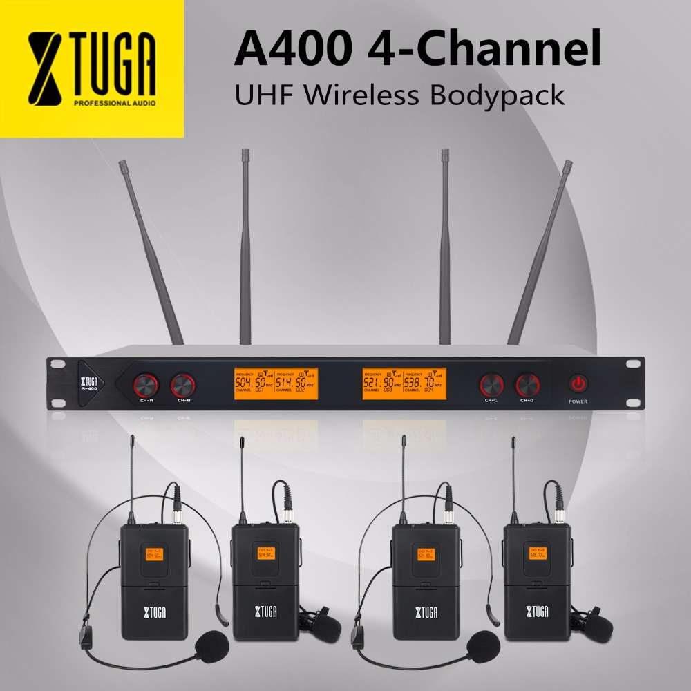 XTUGA A-400 Metal Material 4-Channel UHF Wireless Microphone System With 4 BodyPack For Stage Church Family Party Small Karaoke
