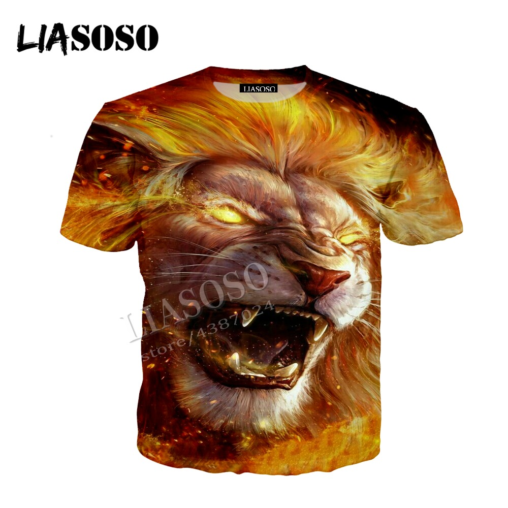 LIASOSO latest 3D printing comfortable polyester blouse cool golden flame angry lion zipper hoodie men women sweatshirt CX429