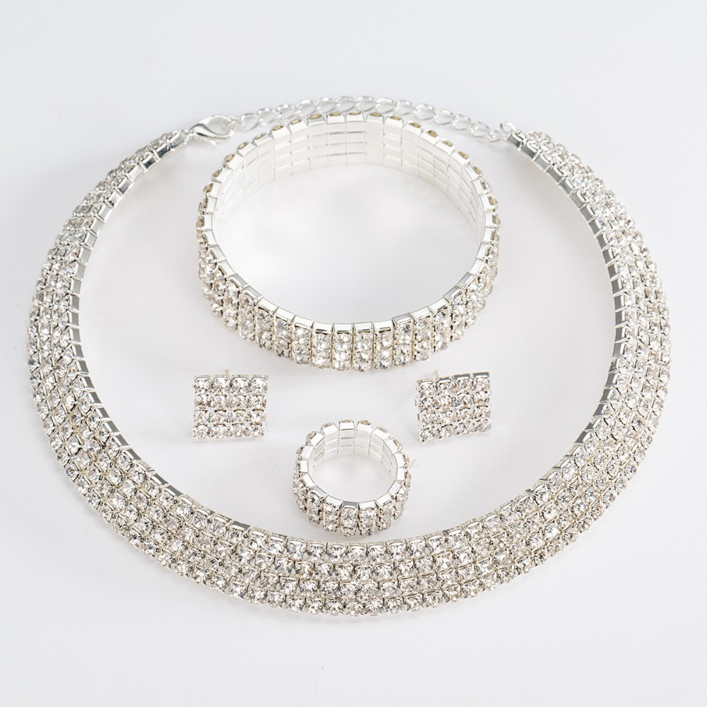 Silver Color Circle Crystal Bridal Jewelry Set 2