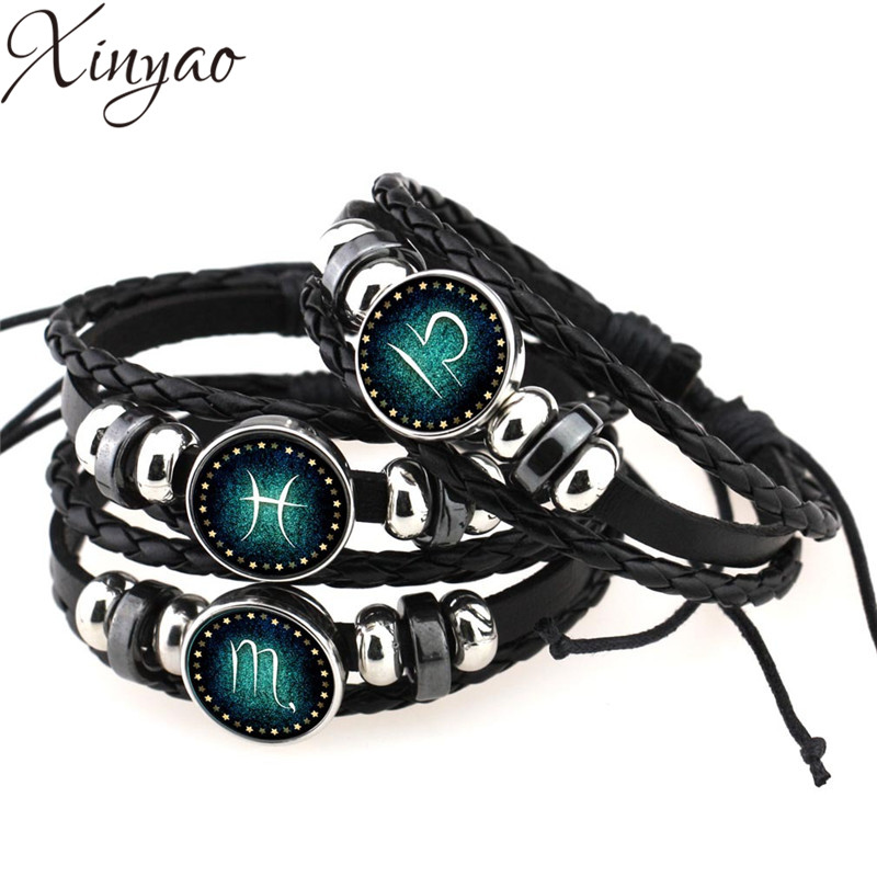 2019 처녀 자리 / Sagittarius / Aquarius / Scorpio / Libra / Capricorn 12 Constellation Bracelet Men Women Braided Leather Bracelets & Bangles