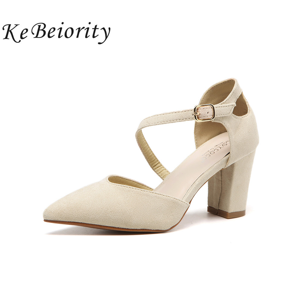 KEBEIORITY Fashion Ladies Pumps High Heel Shoes Ankle Strap Women Sandals Pointed Toe Summer Shoes Women Prom Party Shoes 2018 fashion designer women high heel sandals mixed color strap cut out pumps heel elegant ladies weeding dress shoes real photo
