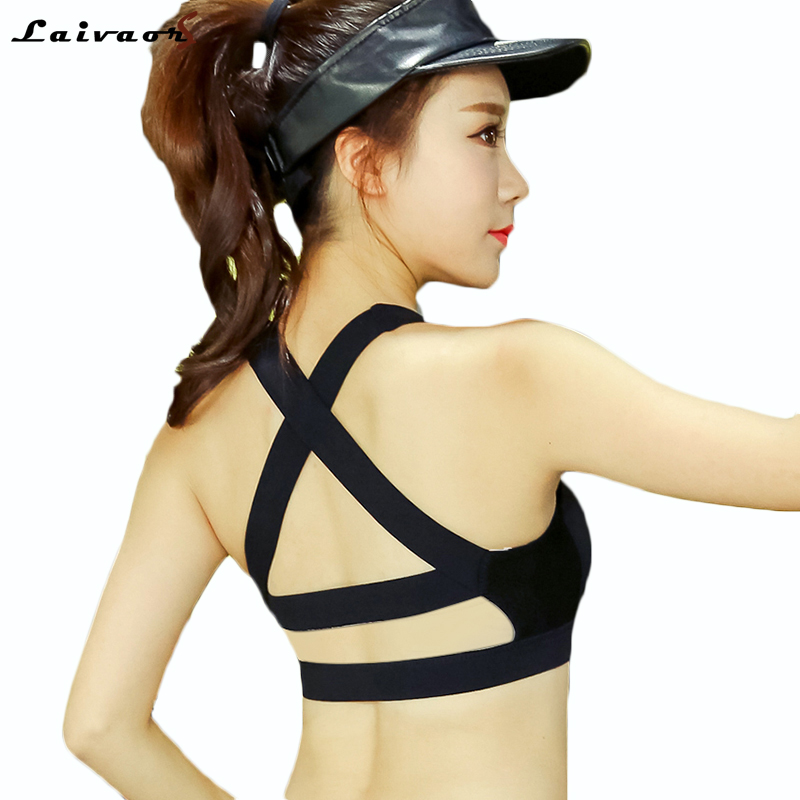Laivaors Fitness Bras Cross Strap Black Yoga Bra Women Padded Push Up Sports Bra Quick Dry Fitted Gym Workout Crop Top Bras 4XL