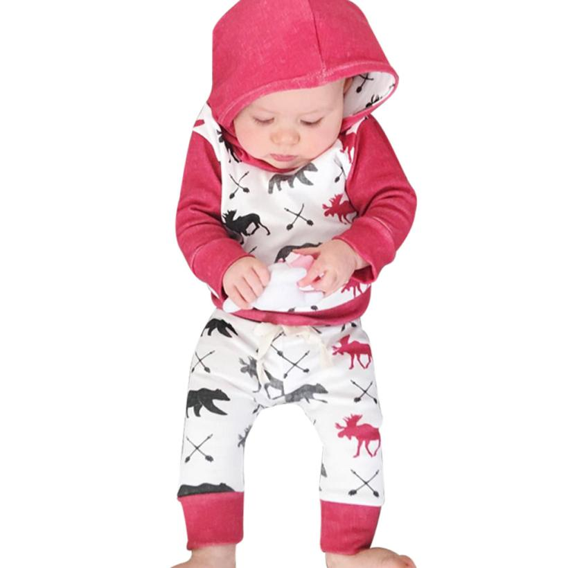 MUQGEW Newborn Clothing Set Deer Bear Hoodie Tops+Pants Outfits Clothes Set Christmas Baby Girl Infant Sweatshirt Bebes Z06