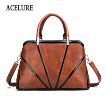 ACELURE Oil Wax PU Leather Handbags For Women Solid Color Vi