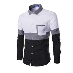 Мужская рубашка с длинным рукавом, Повседневная белая рубашка из хлопка с карманами в стиле пэчворк, M-2XL, весна-осень 2019