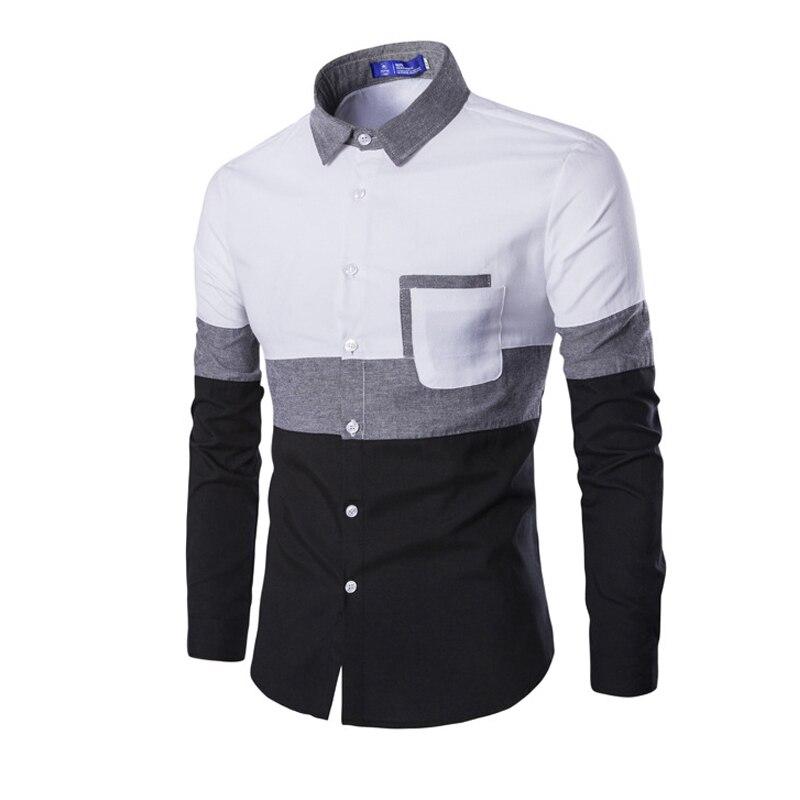 Camisa de Manga Ocasional dos Homens do Algodão Novo 2019 Oxford Homens Longa Primavera Outono Bolso Patchwork Camisa Slim Fit Homens Brancos Roupas M 2xl