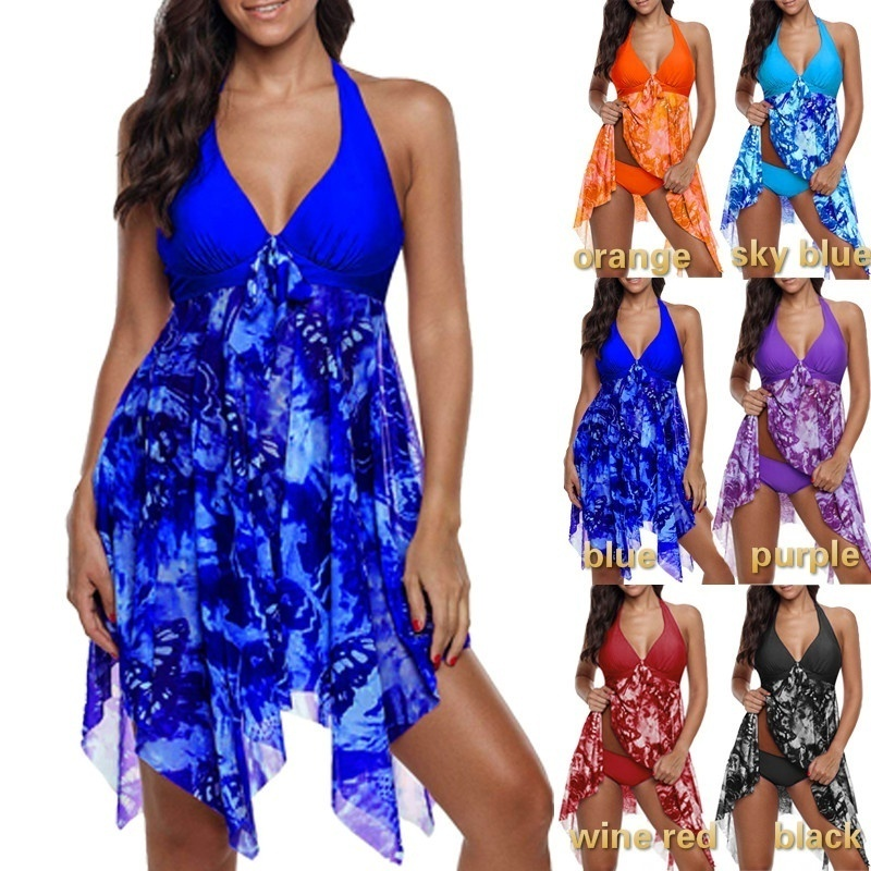 Women Slim Smart Bright Conservative Irregular Print Halter Add Fertilizer Padded Swimwear 2019 Tankini Plus Two Piece Swimsuit