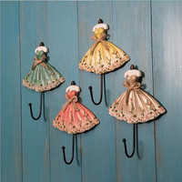 Free Shipping High Quality Rose Flower Dress Resin Hook Decorative Hook Vintage Style Hat Coat Hanger