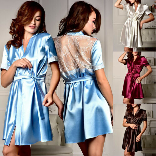 Women Short Sleeve Sexy V Neck Lace Satin Robes Bandage Night Dress Woman Negligee Solid Color Nightwear Female Sleepwear