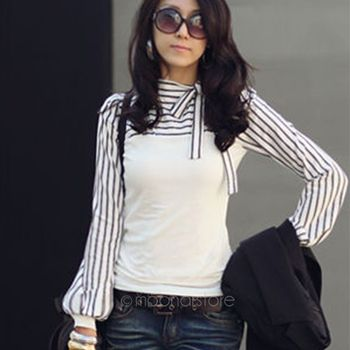 New Korean Style Fashion Cute Bowknot Long Sleeve Striped Bodysuit Chiffon Blouse Plus Size Women Office Shirts And Tops Chemisier