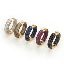 Big Circle Hoop Golden Copper Pins Earrings Women Multicolor Cubic Zirconia MOLINUO