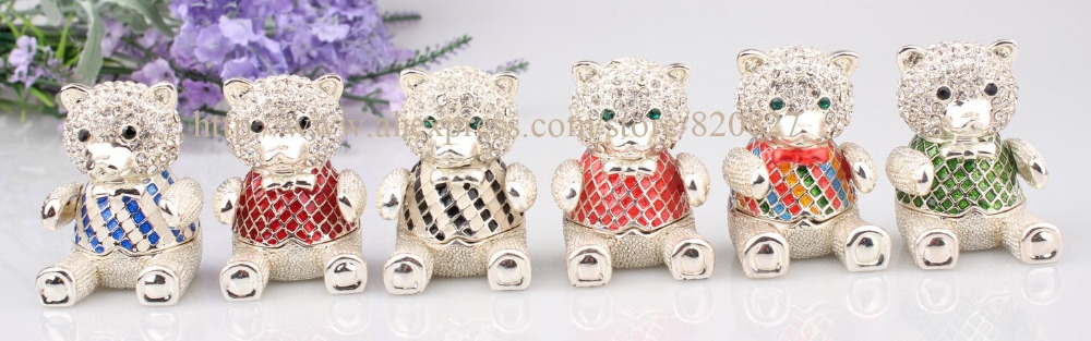 Handmade Jeweled Metal Bear Enamel Trinket Box Cute Bear Hinge Jewerly Box Lovely Small Bear Gift Box Color at Random