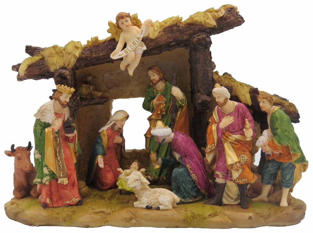 Religious Christmas Images.Us 80 88 Hankroi Ornate Religious Christmas Nativity Statue Baby Jesus Was Born Scene Resin Sculpture Hand Painted Tabletop Figurine 13