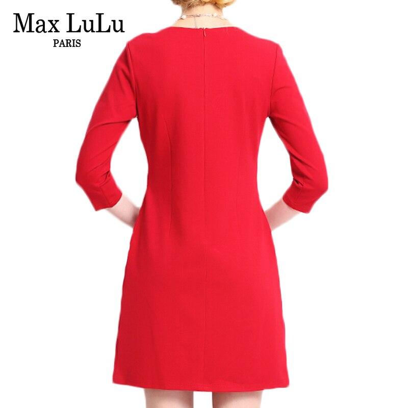MAX Lulu брендовая одежда 2017 Китай Стиль модные Цветочный принт красное платье женские пикантные Slim Fit Осень Bodycon женщин Платья для женщин Бесплатная - 3