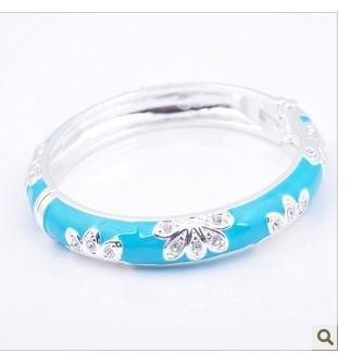 Bracelet Fashion Jewelry Blue Flower Baby Bracelets Crystal Bangle Chamrs ABC