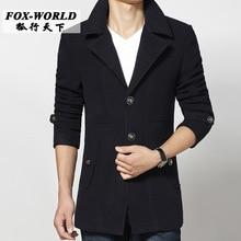 2015 new autumn winter Double breasted wool coat men fit slim mens pea coat woolen fashion handsome coats cashmere M – 3XL