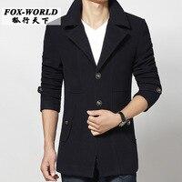 2015 new autumn winter Double breasted wool coat men fit slim mens pea coat woolen fashion handsome coats cashmere M 3XL