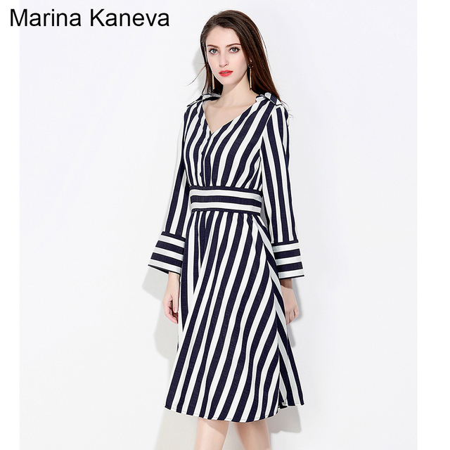 women midi stripe tunic dress plus size V neck polyester casual boho ...