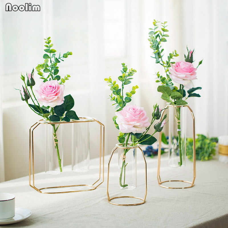 NOOLIM Luxury 1Set Nordic Style Glass Iron Art Vase Rose Gold Geometric Shape Flowerpot Home Wedding Decoration Accessories