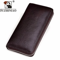 FUZHINIAO Cell Phone Wallet Clutch Genuine Leather Brand Rfid Walet Male Hand Bag Long Coin Purse Cuzdan Portomonee Famous Brand