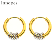 Innopes New fashion earrings small circle mens round wire stainless steel