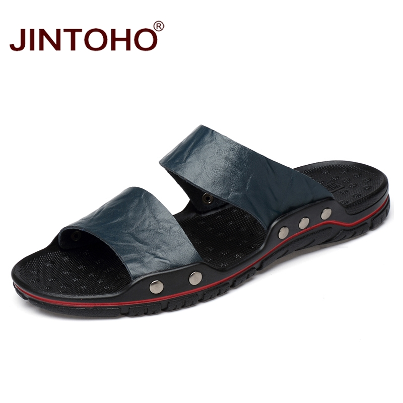 JINTOHO Summer Shoes Slippers Genuine-Leather Casual Fashion for Men Cheap Big-Size
