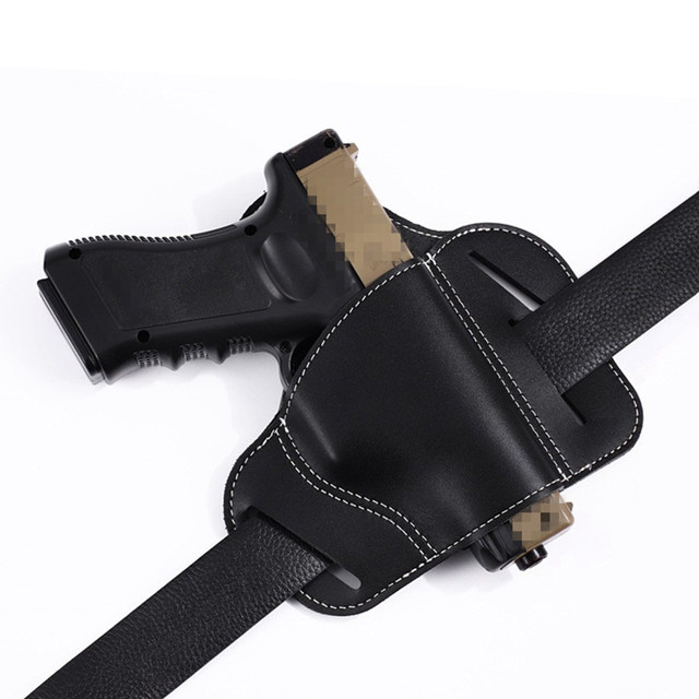 Tactical Hunting Airsoft Airgun Pistol Leather Belt Holster For Glock 17 19  Sig Sauer Most Pistol Gun Holster Right Hand-in Holsters from Sports &