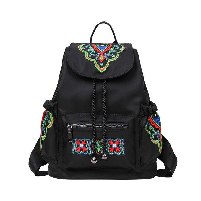New National Women's Nylon Backpack New Vintage School Students Bagpack waterproof Girls Female Embroidered Bag Mochila Feminina