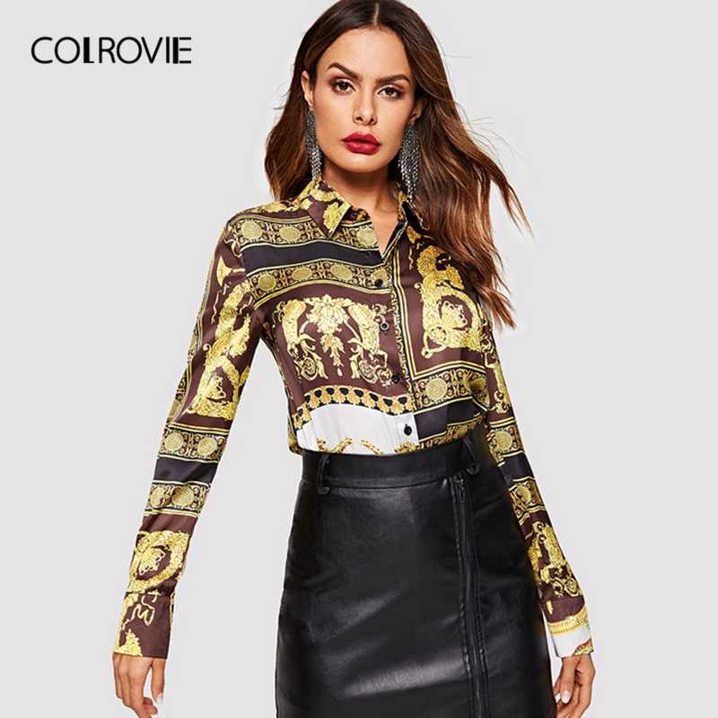 COLROVIE Ornate Print Button Vintage   Blouse     Shirt   Womens Clothing 2019 Spring Long Sleeve   Shirts   Office Ladies Tops And   Blouses