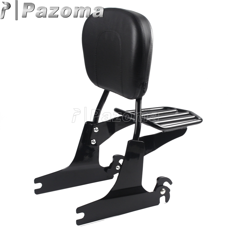 Black Motorcycles Detachable Rear Passenger Backrest Pad Sissy Bar Luggage Rack for Harley Davidson Dyna 02-later