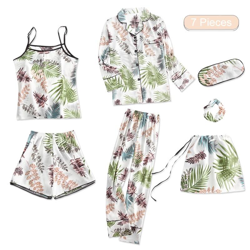 Home Suit Summer Woman   Pajama     Set   Silk Full Shorts Spaghetti Strap Spring Autumn Winter 7 Piece Floral New Female Lovely Pyjamas