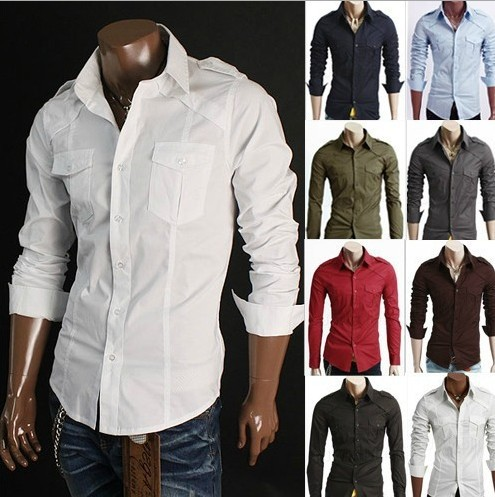 33ac5a726 Men's 2014 new style fashion casual Badges Two pocket design long sleeve  shirts 8 colors Wholesale and retail MCT140
