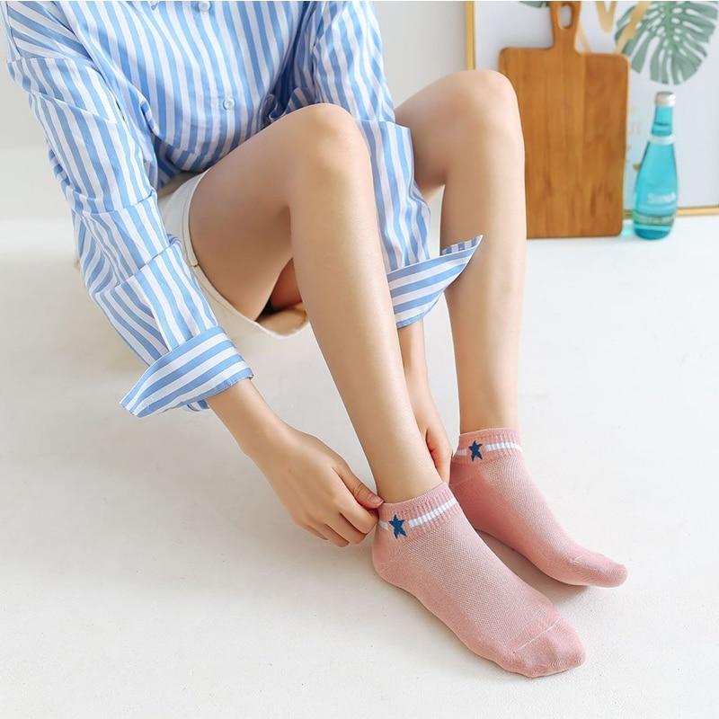 Women's Harajuku Cute College Wind Simple Candy Colors Stars Socks Lady Cotton Mesh Breathable Boat Socks Hosiery Female Sox