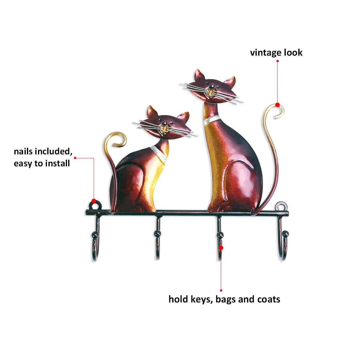 Tooarts 鉄キーホルダー猫壁ハンガーフック装飾コート用 4 フック袋壁マウント服ホルダー装飾としてギフト