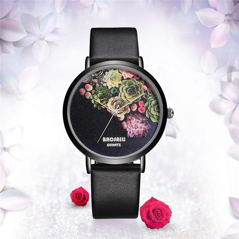 BAOSAILI Floral Design Watch PU Leather Watchband Women Watch Life Water Resistant Relogio Feminino Lady Quartz Wristwatches 50
