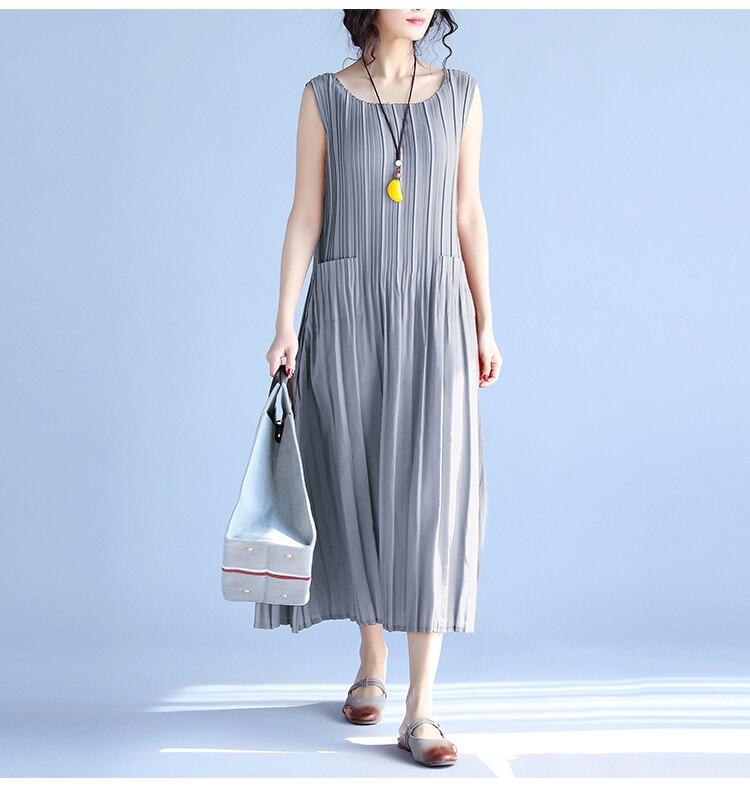 BelineRosa Women's Summer Dresses 17 Pure Color Casual Women Draped Dress Sleeveless Plus Size Dresses for Women QY00001 20