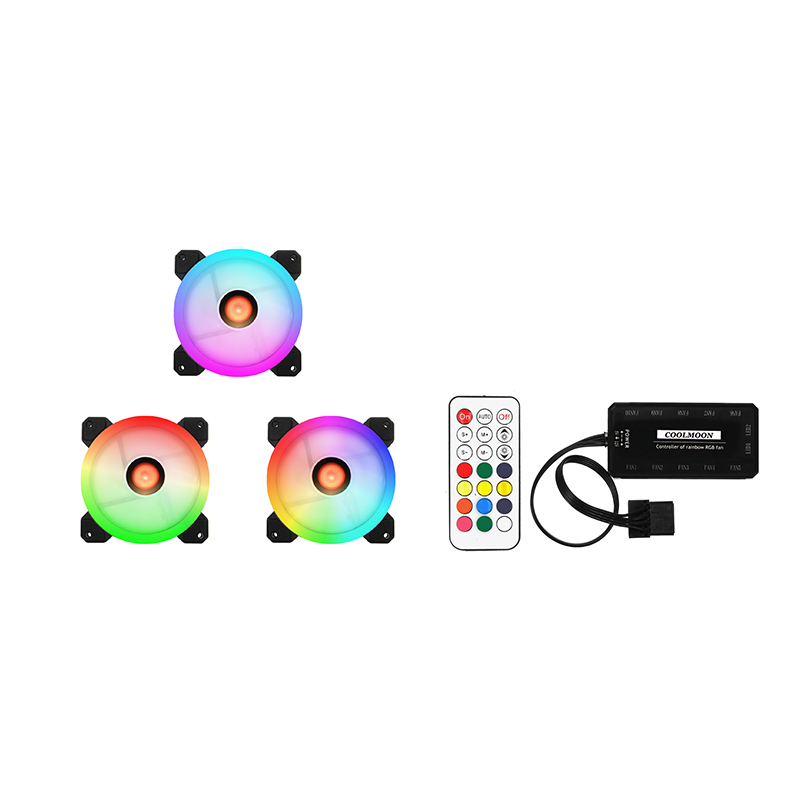 COOLMOON 3pcs Computer Case PC Cooling Fan RGB Adjust LED 120mm Quiet + IR Remote For CPU aigo jesm j3 3pcs computer case pc cooling fan rgb adjust led 120mm quiet ir remote new computer cooler cooling rgb case fans