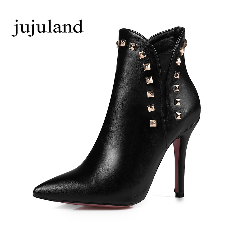 Winter Women Shoes Ankle Martin Boots Chelsea Boots Pointed Toe Thin High Heels Big Size Fashion Solid Rivet Slip-on Fleeces купить