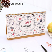 2019 year multi-function Cartoon Plants flowers desk calendar Desktop wall Calendar Scheduler Planner Yearly Agenda Organizer