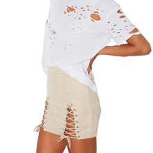 2018 Autumn Winter Women Sexy Mini Skirt Vintage High Waist Lace -Up Bodycon Pencil Solid Suede Skirts Bandage Club Femme apricot lace up design bodycon skirt