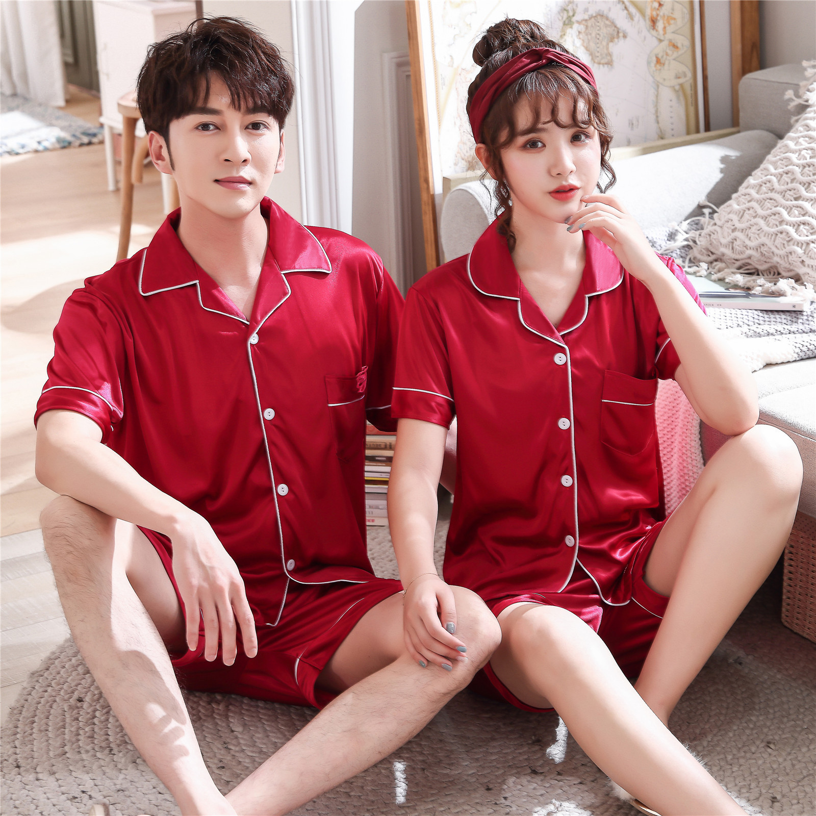 Couples Lovers Pajamas Sets Women Short-Sleeved Summer Pyjama Loose Men Faux Silk Style Couple Pijama Set Sleepwear Top+ Pants