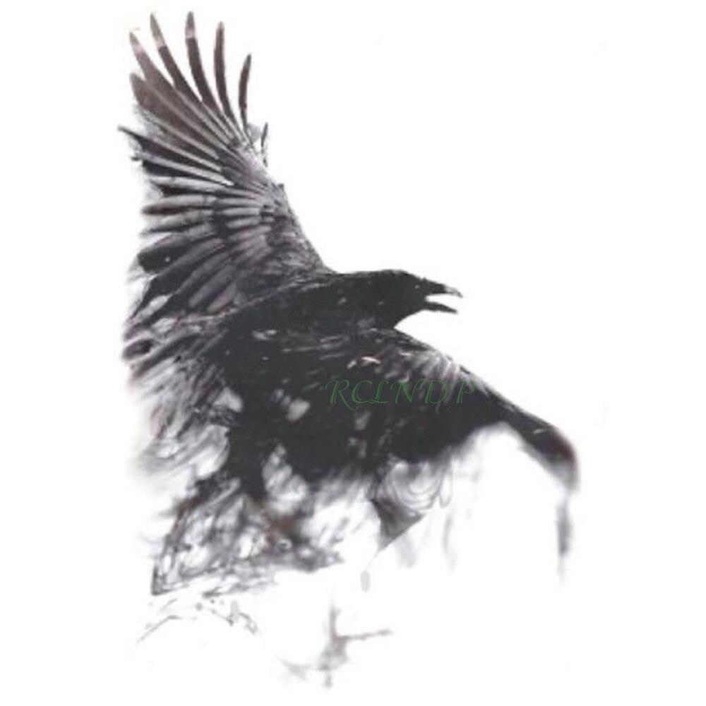Waterproof Temporary Tattoo Sticker Goth Psychic Conjurator Crow Raven Tatto Stickers Flash Tatoo Fake Tattoos For Men Women 7